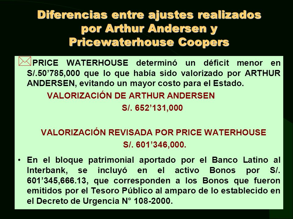 VALORIZACIÓN REVISADA POR PRICE WATERHOUSE
