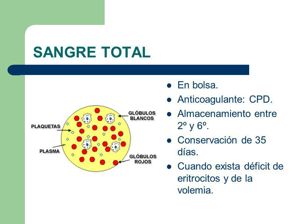 SANGRE TOTAL En bolsa. Anticoagulante: CPD.