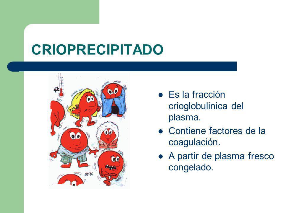 CRIOPRECIPITADO Es la fracción crioglobulinica del plasma.