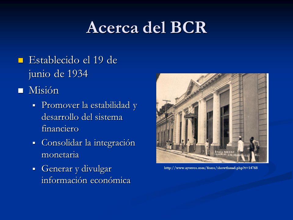 Acerca del BCR Establecido el 19 de junio de 1934 Misión