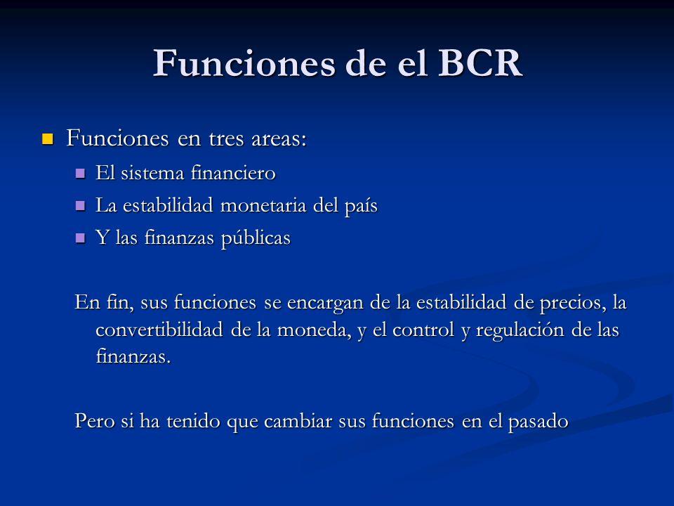 Funciones de el BCR Funciones en tres areas: El sistema financiero