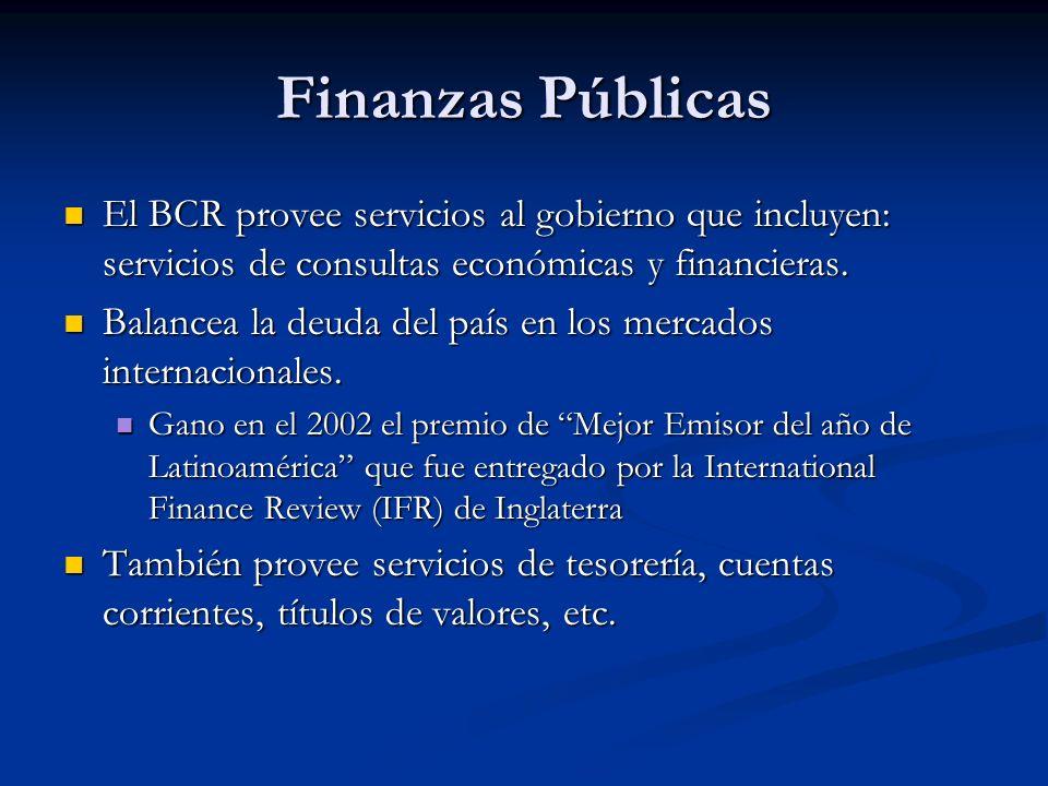 Finanzas PúblicasEl BCR provee servicios al gobierno que incluyen: servicios de consultas económicas y financieras.