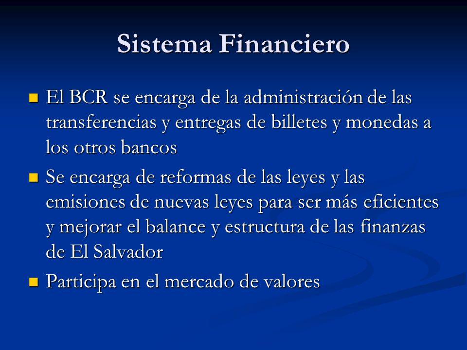 Sistema FinancieroEl BCR se encarga de la administración de las transferencias y entregas de billetes y monedas a los otros bancos.