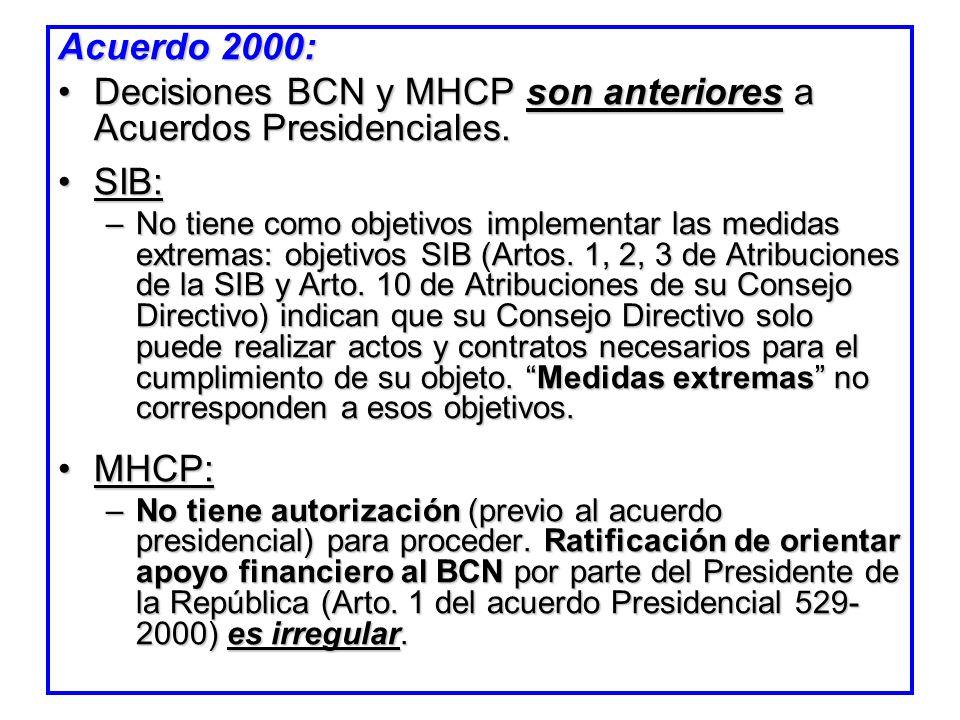 Decisiones BCN y MHCP son anteriores a Acuerdos Presidenciales. SIB: