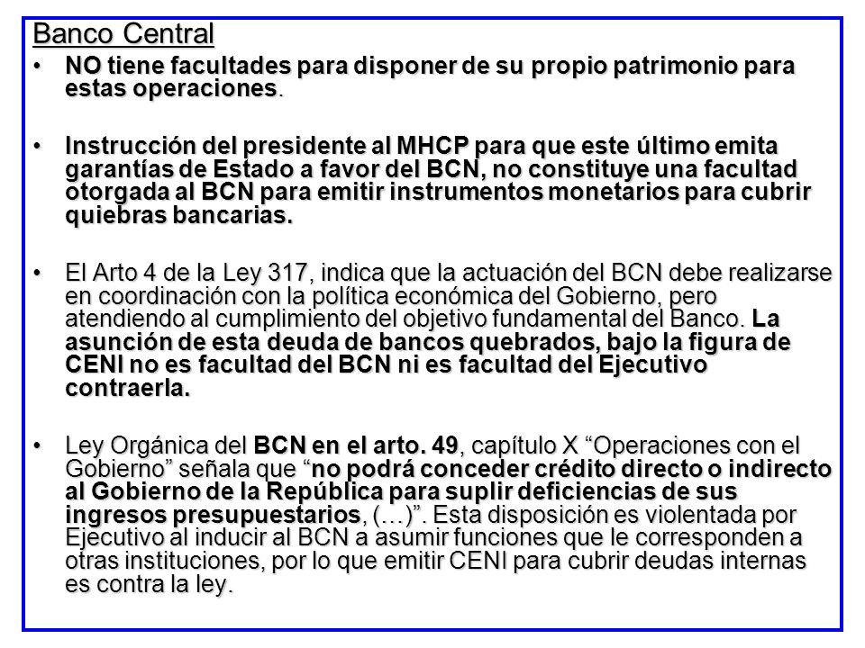 Banco Central NO tiene facultades para disponer de su propio patrimonio para estas operaciones.