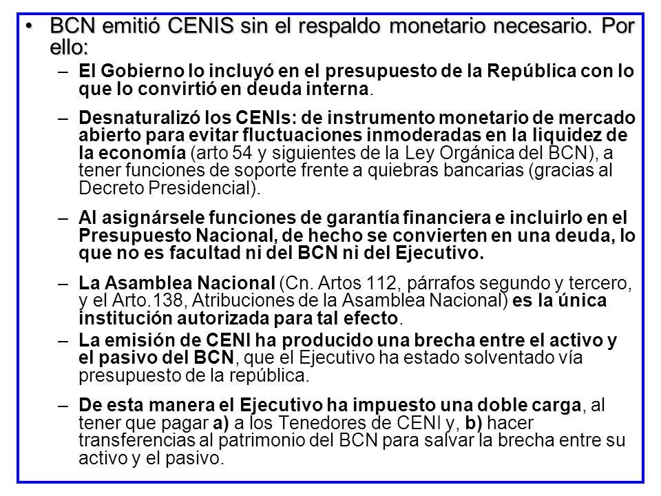 BCN emitió CENIS sin el respaldo monetario necesario. Por ello: