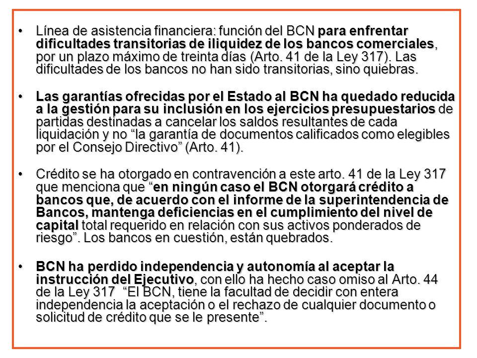 Línea de asistencia financiera: función del BCN para enfrentar dificultades transitorias de iliquidez de los bancos comerciales, por un plazo máximo de treinta días (Arto. 41 de la Ley 317). Las dificultades de los bancos no han sido transitorias, sino quiebras.