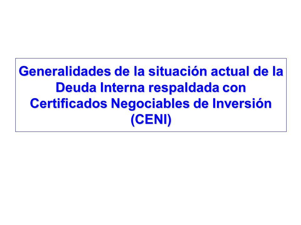 Generalidades de la situación actual de la Deuda Interna respaldada con Certificados Negociables de Inversión (CENI)