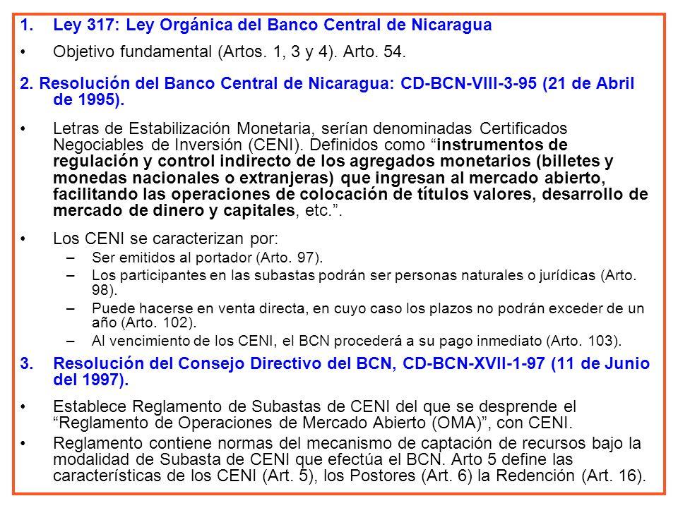 Ley 317: Ley Orgánica del Banco Central de Nicaragua