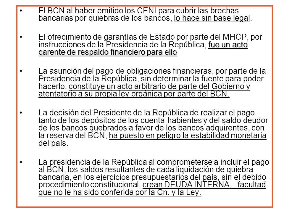 El BCN al haber emitido los CENI para cubrir las brechas bancarias por quiebras de los bancos, lo hace sin base legal.
