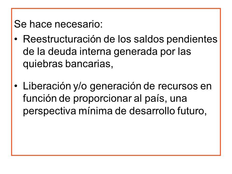 Se hace necesario: Reestructuración de los saldos pendientes de la deuda interna generada por las quiebras bancarias,