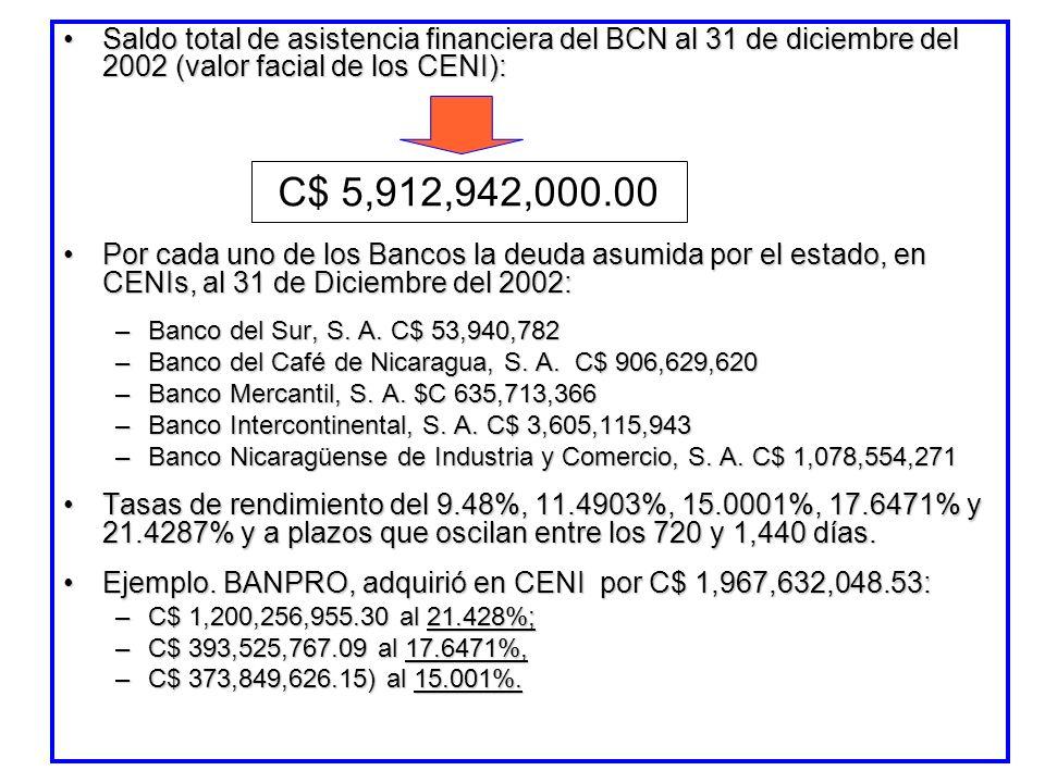 Saldo total de asistencia financiera del BCN al 31 de diciembre del 2002 (valor facial de los CENI):