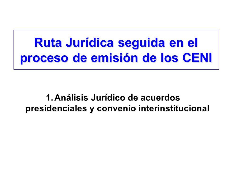 Ruta Jurídica seguida en el proceso de emisión de los CENI