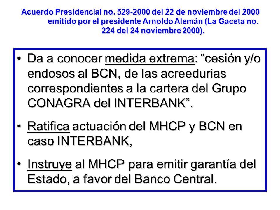 Ratifica actuación del MHCP y BCN en caso INTERBANK,