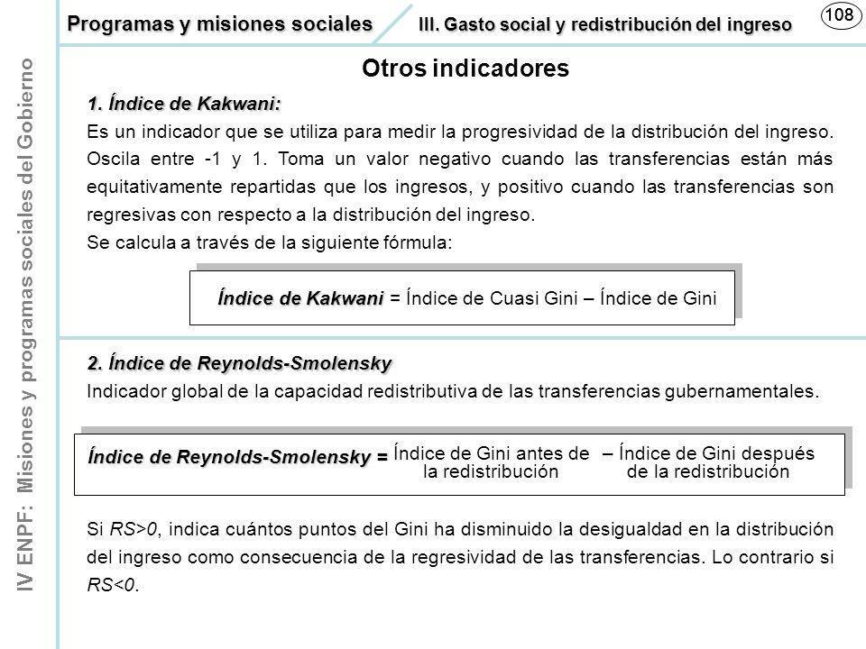 108 108. Programas y misiones sociales III. Gasto social y redistribución del ingreso. Otros indicadores.