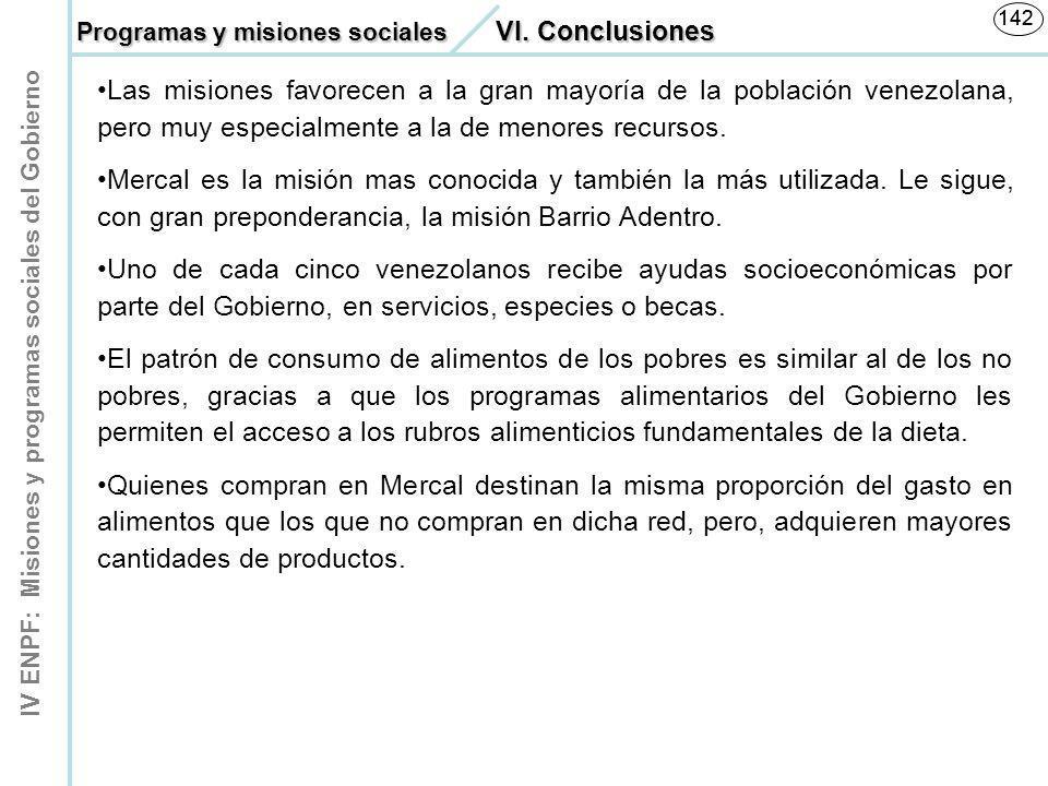 142 Programas y misiones sociales VI. Conclusiones.