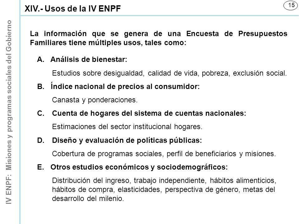 XIV.- Usos de la IV ENPF La información que se genera de una Encuesta de Presupuestos Familiares tiene múltiples usos, tales como: