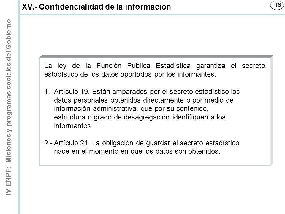 XV.- Confidencialidad de la información