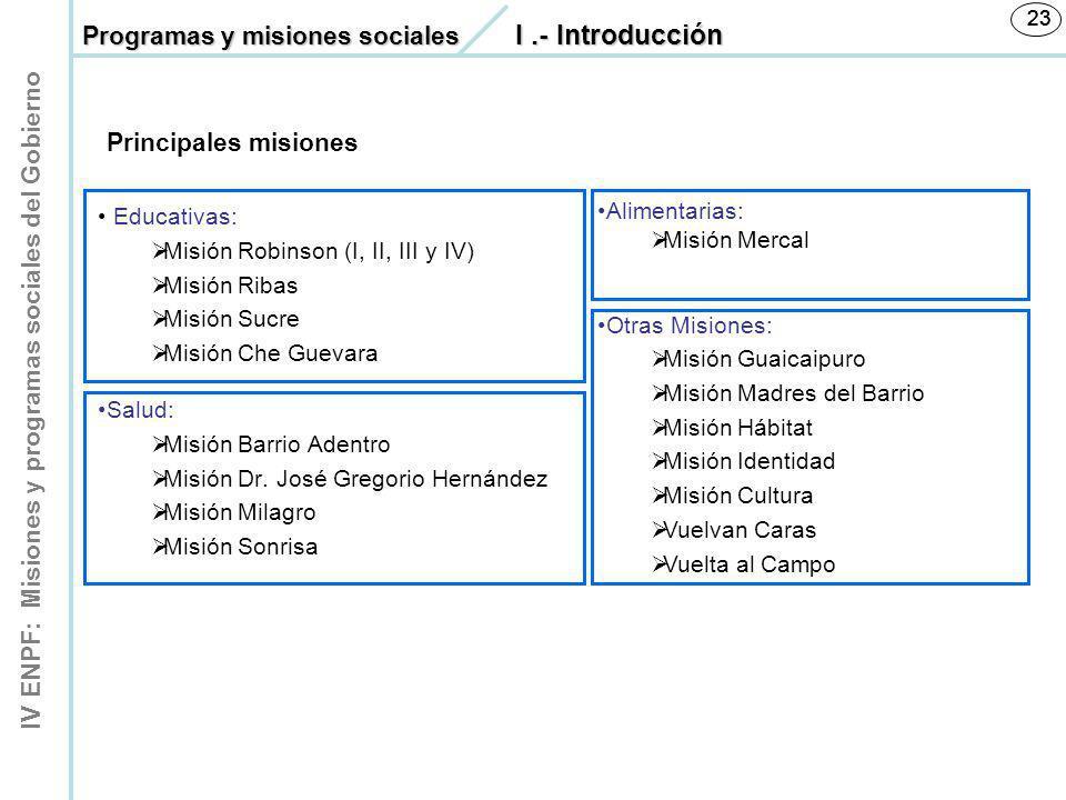 Programas y misiones sociales I .- Introducción