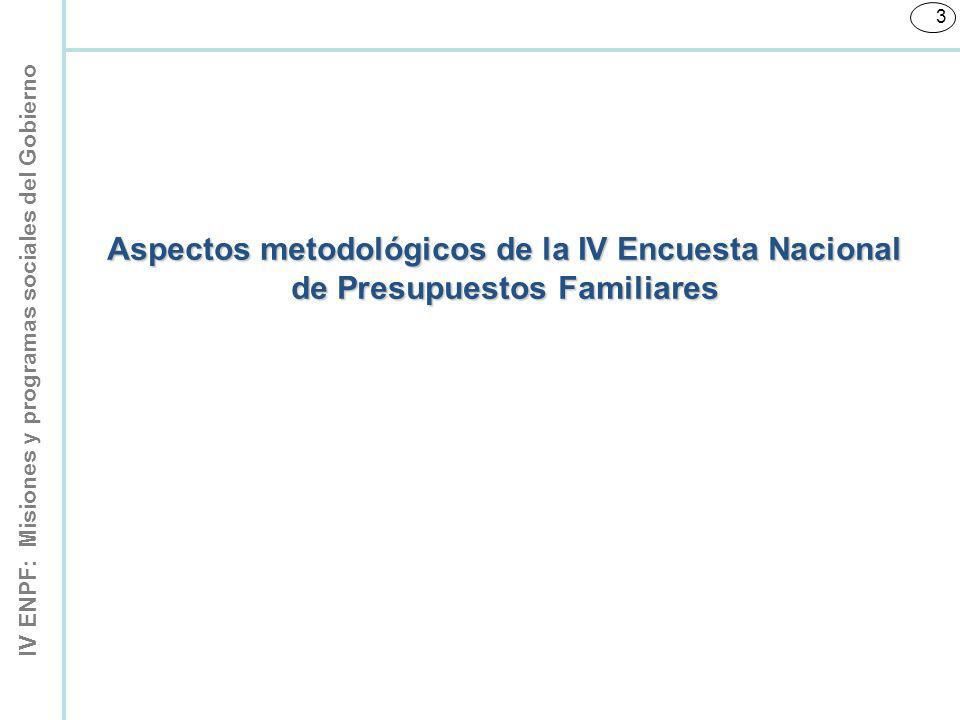 Aspectos metodológicos de la IV Encuesta Nacional de Presupuestos Familiares