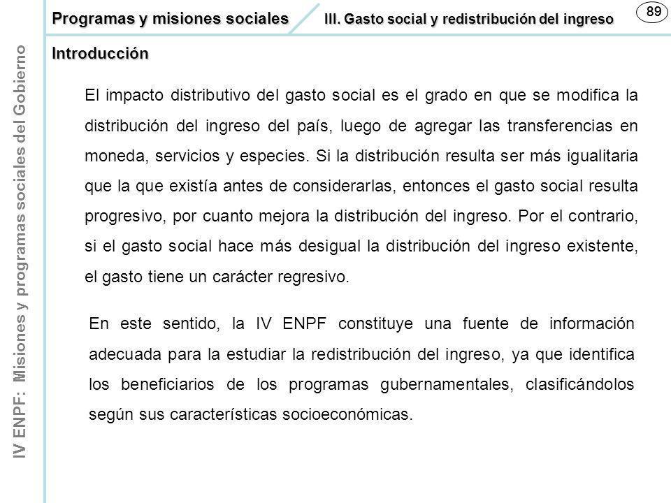89 89. Programas y misiones sociales III. Gasto social y redistribución del ingreso. Introducción.
