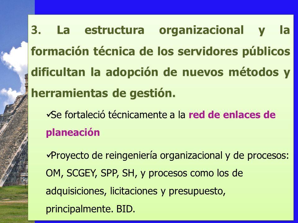 3. La estructura organizacional y la formación técnica de los servidores públicos dificultan la adopción de nuevos métodos y herramientas de gestión.