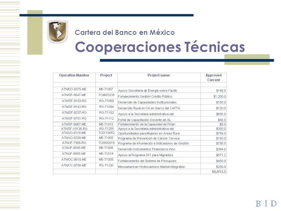 Cartera del Banco en México Cooperaciones Técnicas