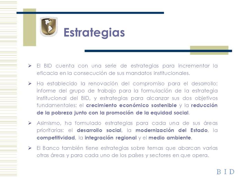 EstrategiasEl BID cuenta con una serie de estrategias para incrementar la eficacia en la consecución de sus mandatos institucionales.
