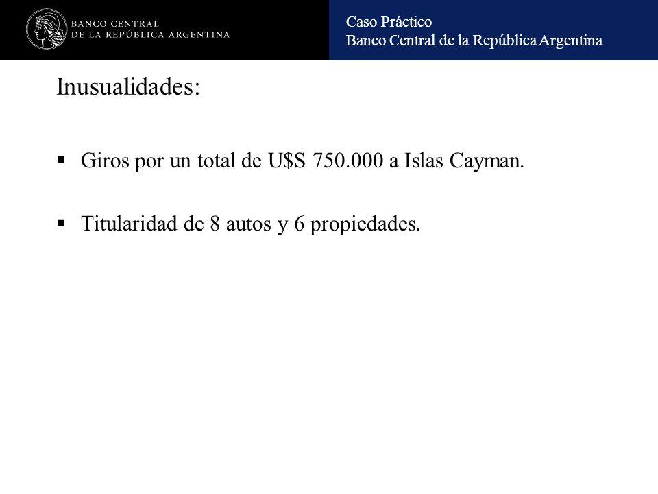 Inusualidades: Giros por un total de U$S 750.000 a Islas Cayman.