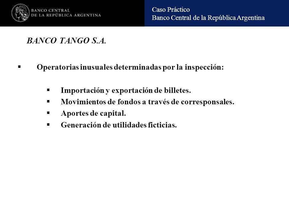 BANCO TANGO S.A. Operatorias inusuales determinadas por la inspección:
