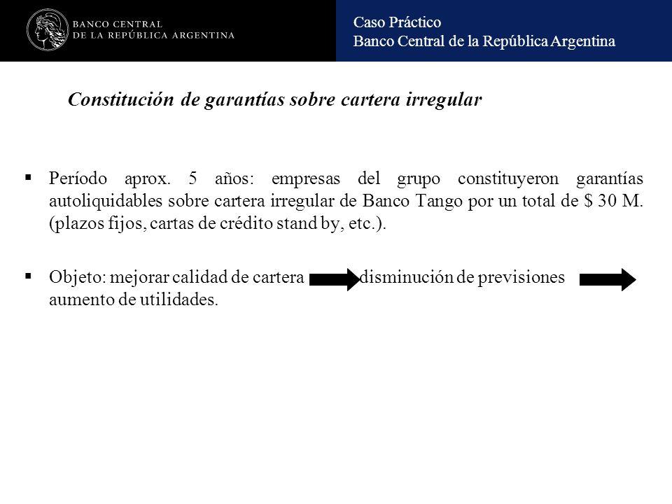 Constitución de garantías sobre cartera irregular