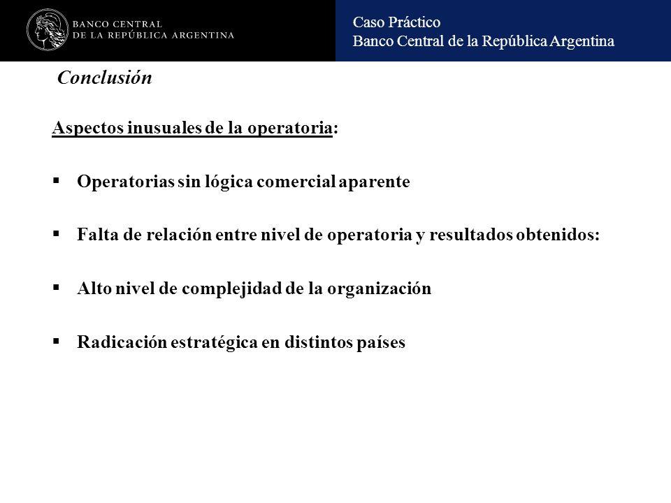 Conclusión Aspectos inusuales de la operatoria: