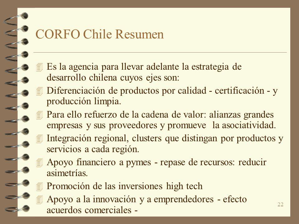 CORFO Chile Resumen Es la agencia para llevar adelante la estrategia de desarrollo chilena cuyos ejes son: