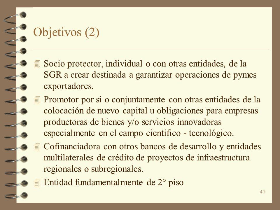 Objetivos (2) Socio protector, individual o con otras entidades, de la SGR a crear destinada a garantizar operaciones de pymes exportadores.