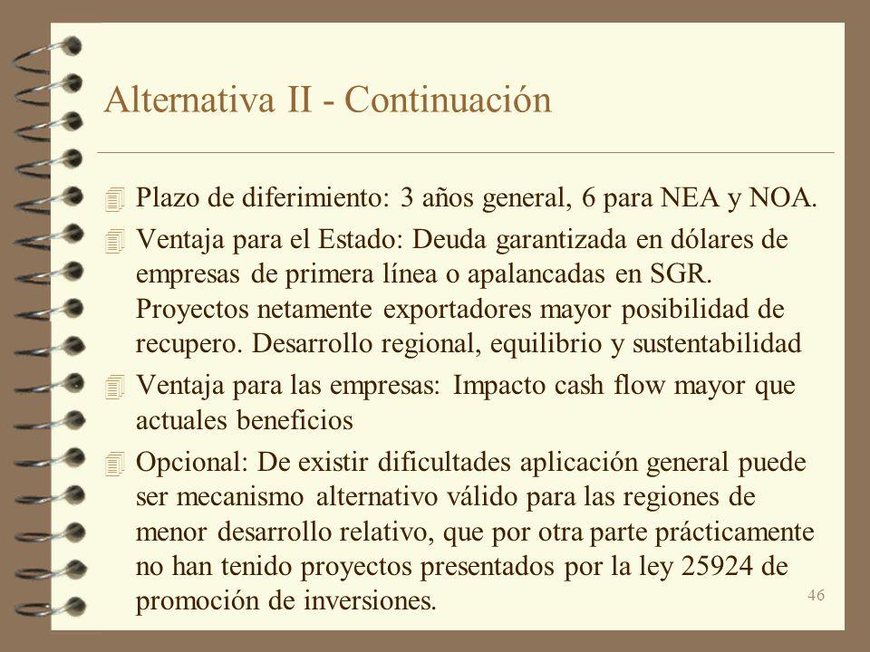 Alternativa II - Continuación
