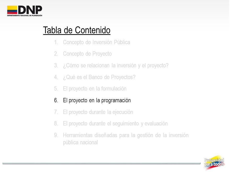 Tabla de Contenido Concepto de Inversión Pública Concepto de Proyecto