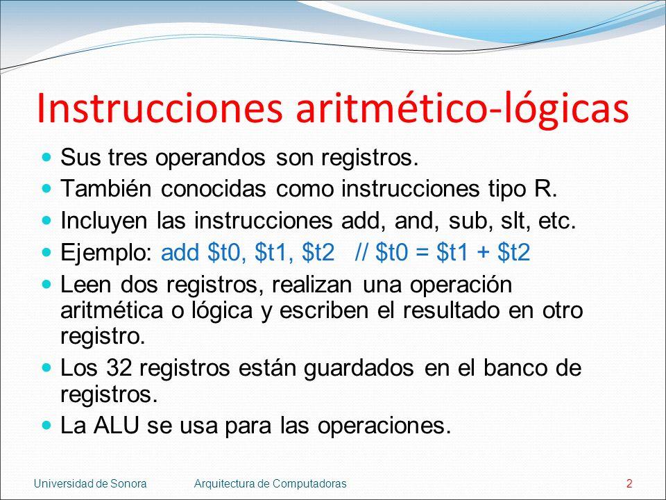 Instrucciones aritmético-lógicas
