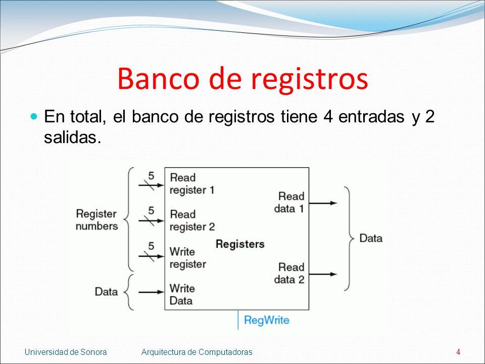 Banco de registros En total, el banco de registros tiene 4 entradas y 2 salidas. Universidad de Sonora.