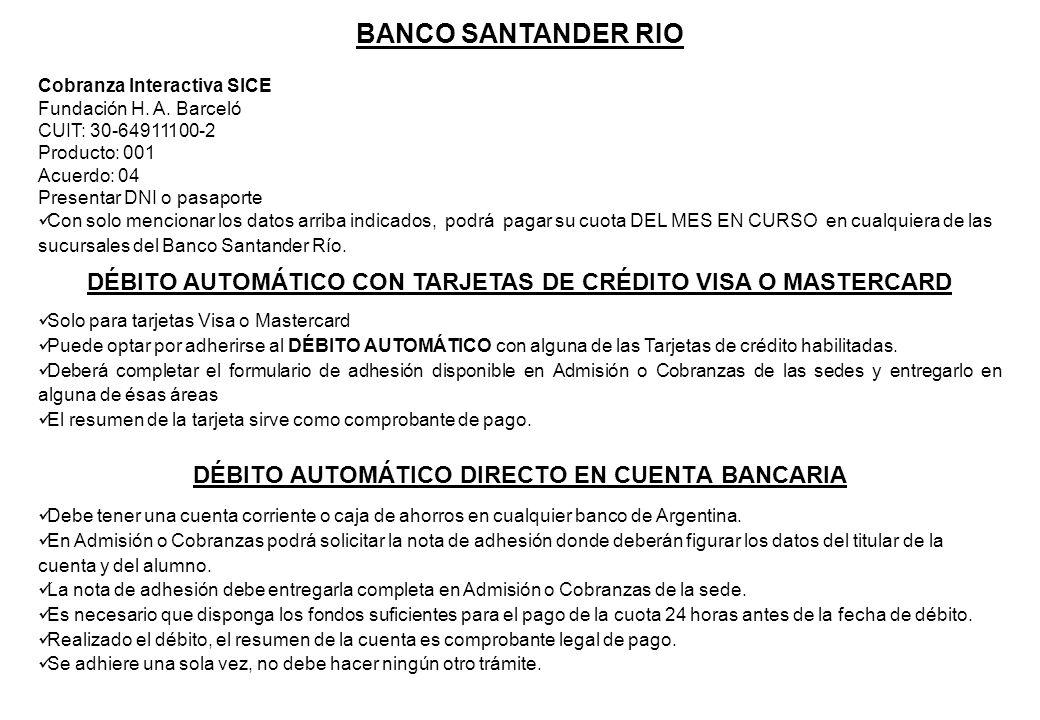 DÉBITO AUTOMÁTICO DIRECTO EN CUENTA BANCARIA