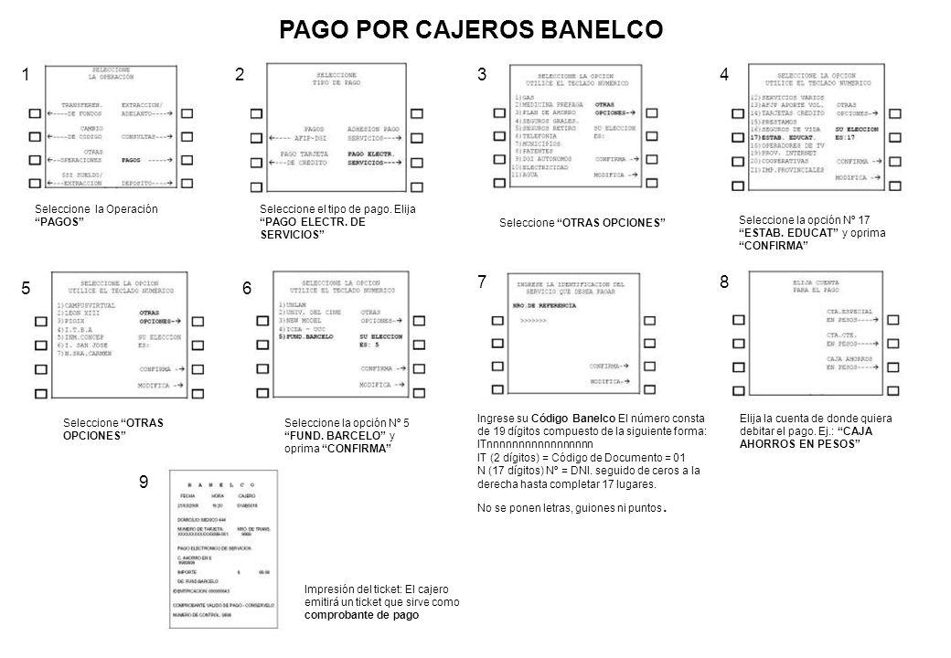 PAGO POR CAJEROS BANELCO