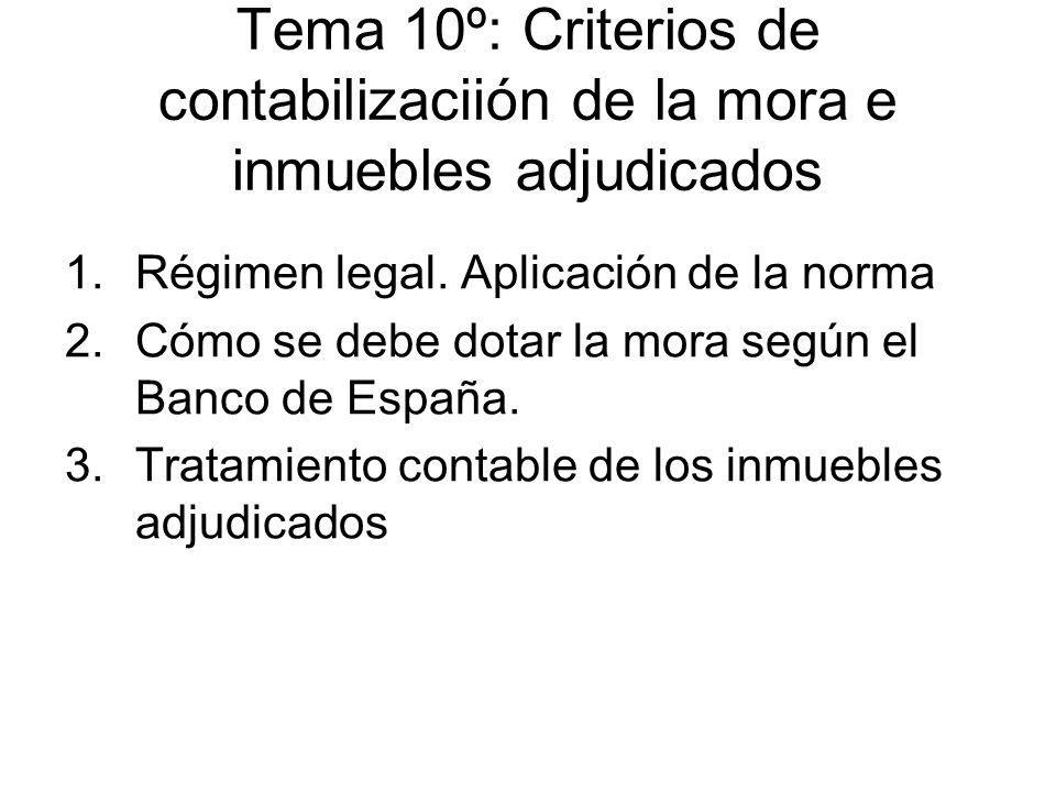Tema 10º: Criterios de contabilizaciión de la mora e inmuebles adjudicados