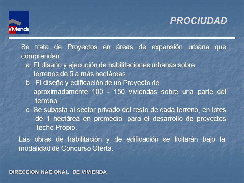 PROCIUDAD Se trata de Proyectos en áreas de expansión urbana que comprenden: a. El diseño y ejecución de habilitaciones urbanas sobre.