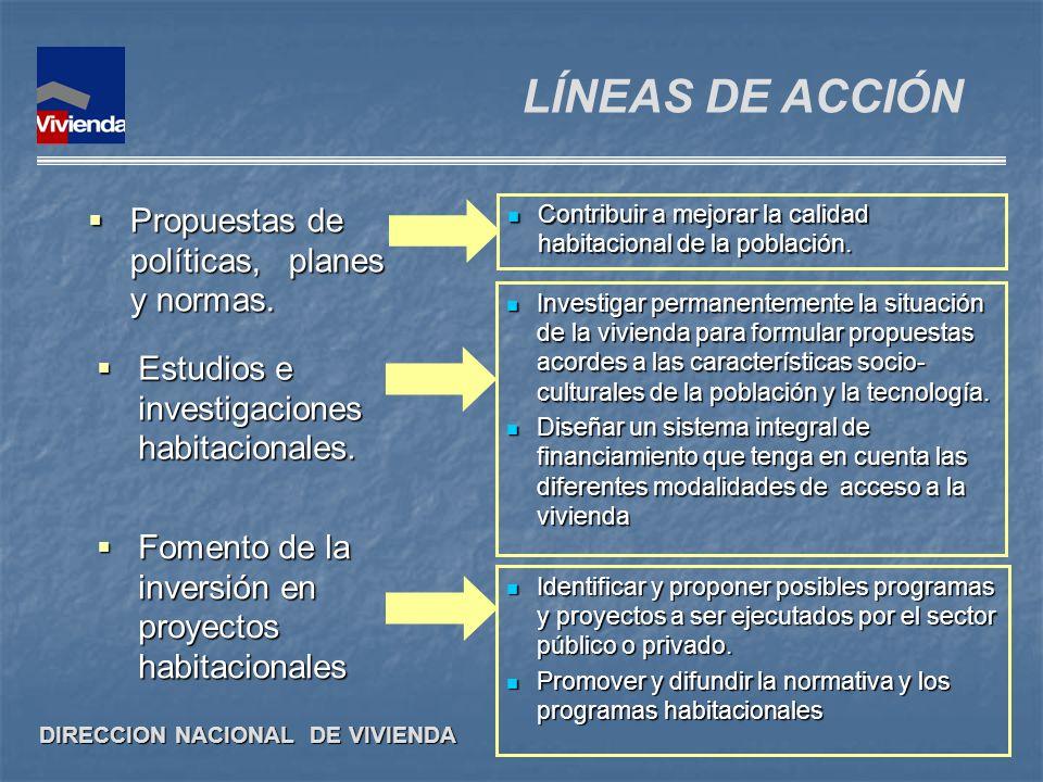 LÍNEAS DE ACCIÓN Propuestas de políticas, planes y normas.