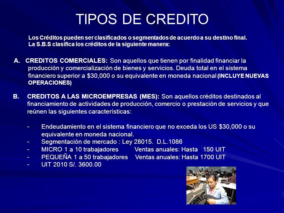 TIPOS DE CREDITO Los Créditos pueden ser clasificados o segmentados de acuerdo a su destino final.