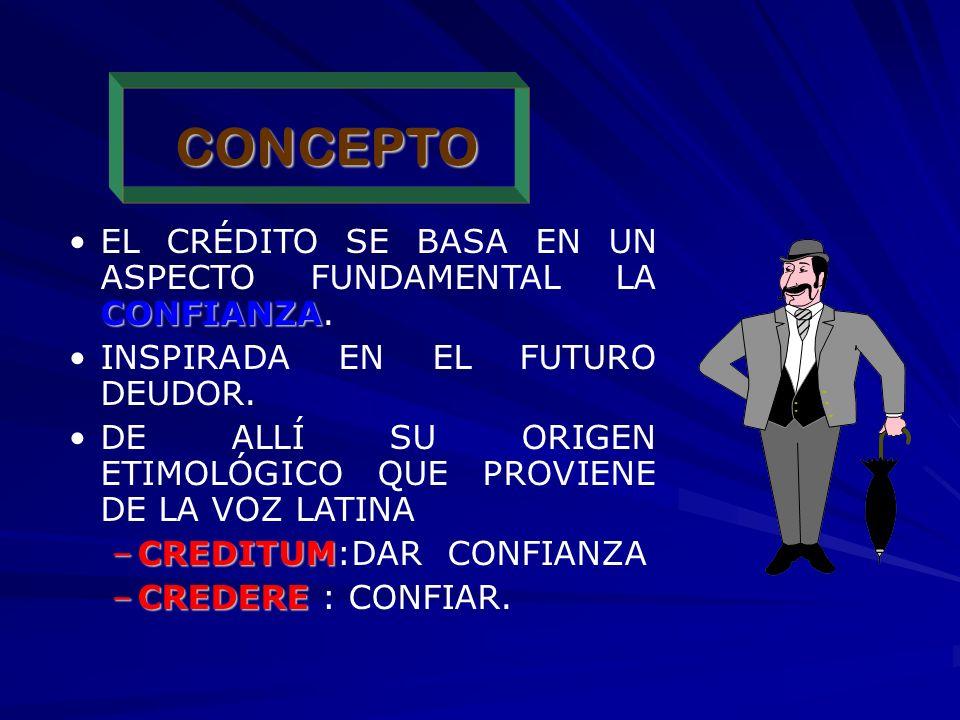 CONCEPTO EL CRÉDITO SE BASA EN UN ASPECTO FUNDAMENTAL LA CONFIANZA.