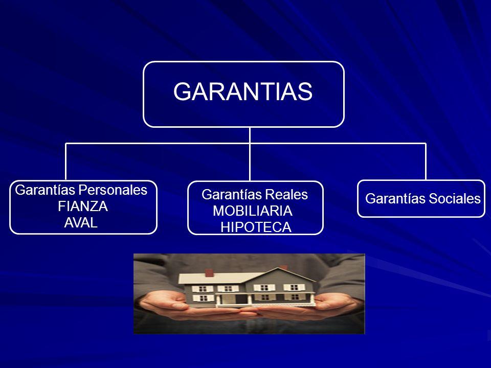 GARANTIAS Garantías Personales Garantías Reales FIANZA