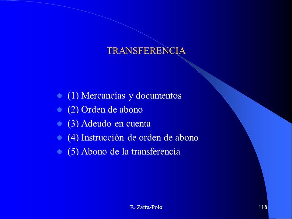 (1) Mercancías y documentos (2) Orden de abono (3) Adeudo en cuenta