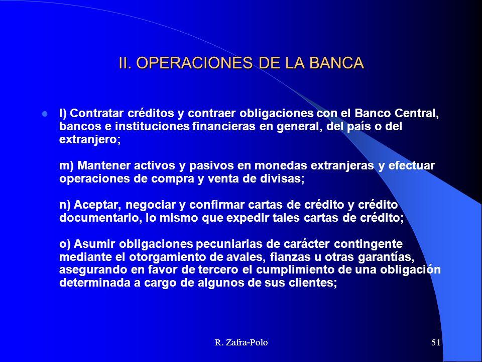 II. OPERACIONES DE LA BANCA