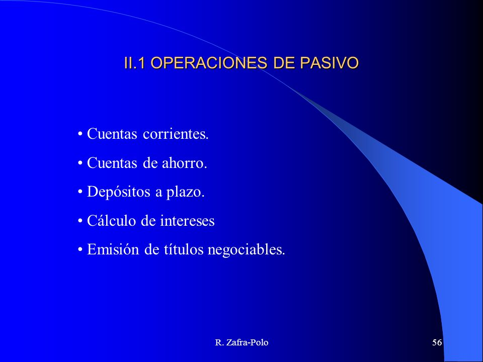 II.1 OPERACIONES DE PASIVO