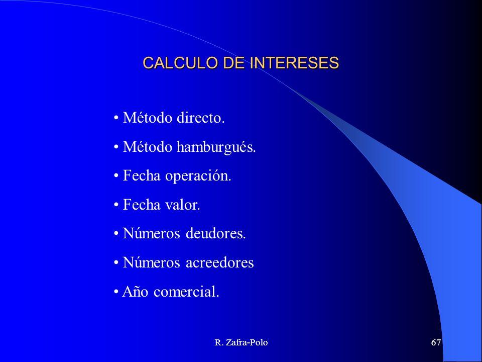 CALCULO DE INTERESES Método directo. Método hamburgués.
